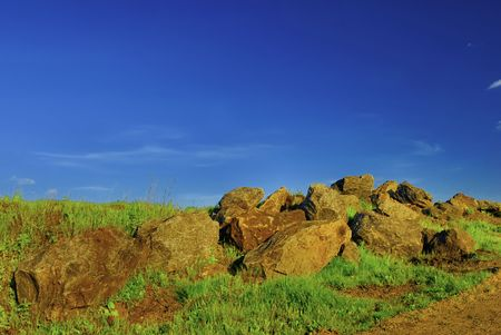 Ancient stones, summer landscape