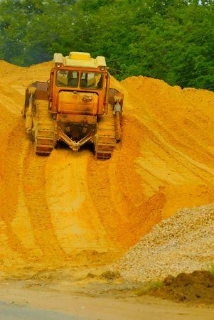 Heavy bulldozer working Stock Photo