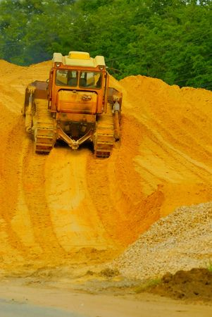 Heavy bulldozer working Stock Photo