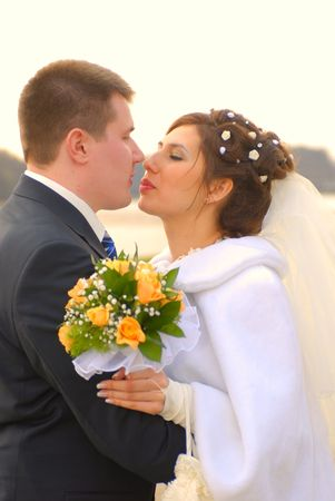 Wedding. First kiss