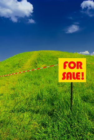 Idyllic green hill with fresh grass and FOR SALE plate Stock Photo