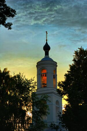 Typical orthodox cathedral in Russia, summertime, sunset Stock Photo