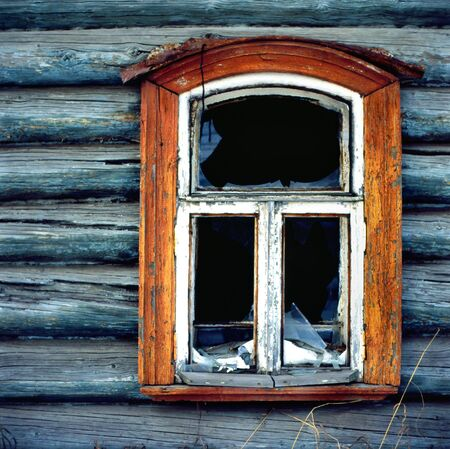 Old wooden window with wall texture