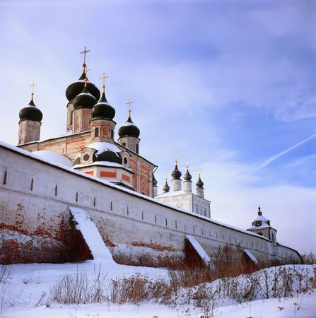 Vintage church in winter, Pereslavl Zalessky, Russia, golden ring