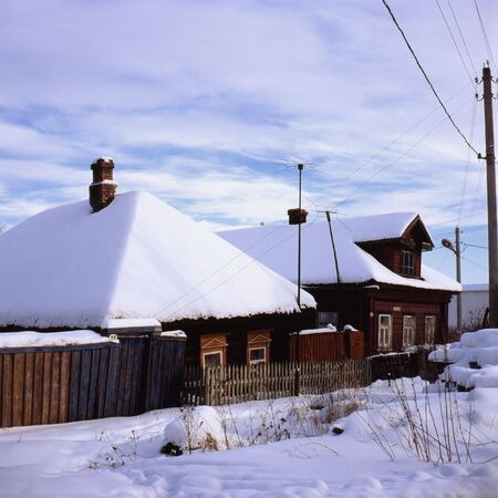 Russian village in winter Stock Photo