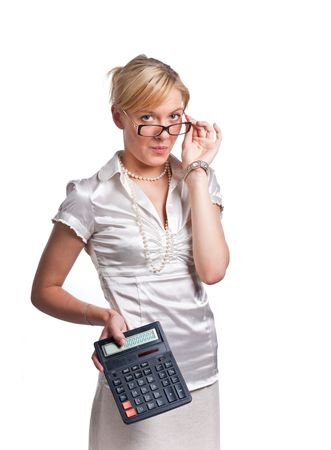 Young cute blond office woman with calculator. Isolated on white