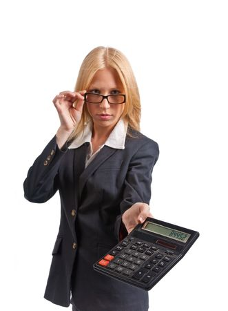 Cute blonde businesswoman with calculator. Isolated on white