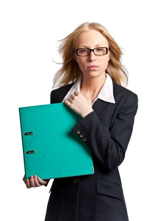 Young blonde businesswoman with green folder