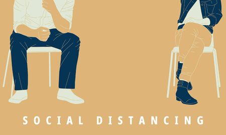 Illustration of social distancing to prevent pandemic virus. Vettoriali