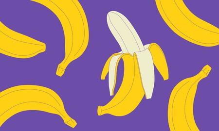 Illustration of easy-to-draw banana. Isolate background.