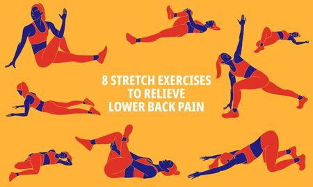 Illustration of stretchingstretching exercises to relieve lower back pain Vector Illustration