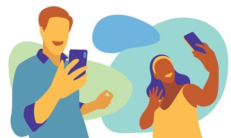 Video call lovers via smartphone, even far away. Vector illustration.
