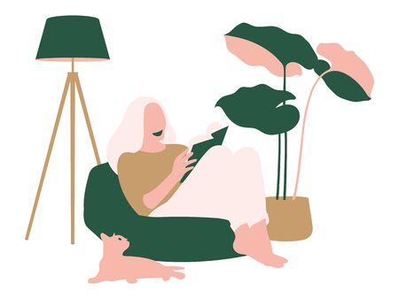 Young women sat on the chair and read a book in a peaceful corner Illustration