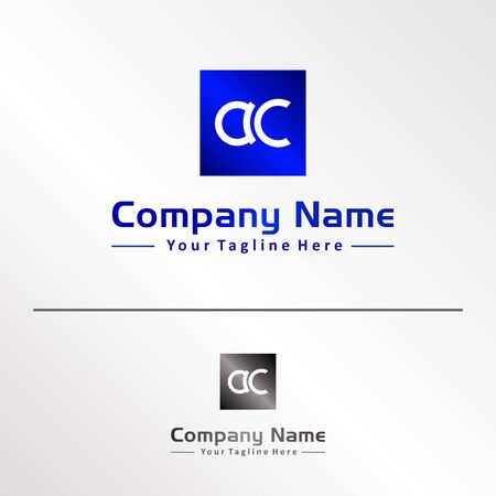 Letters AC Alphabetic Company Logo Design Template, Abjad Logo Concept, Blue, Gray