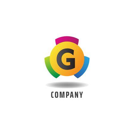 Letter G Cheerful Logo Concept, Colorful Alphabetical Logo Design Template, Green, Blue, Violet, Purple, Gradient, Ellipse Rounded Shape, Three Element