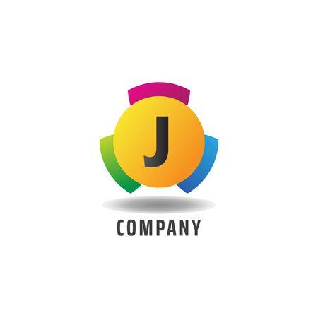 Letter J Cheerful Logo Concept, Colorful Alphabetical Logo Design Template, Green, Blue, Violet, Purple, Gradient, Ellipse Rounded Shape, Three Element