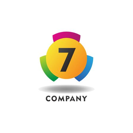 Number 7 Cheerful Logo Concept, Colorful Numeric Logo Design Template, Green, Blue, Violet, Purple, Gradient, Ellipse Rounded Shape, Three Element