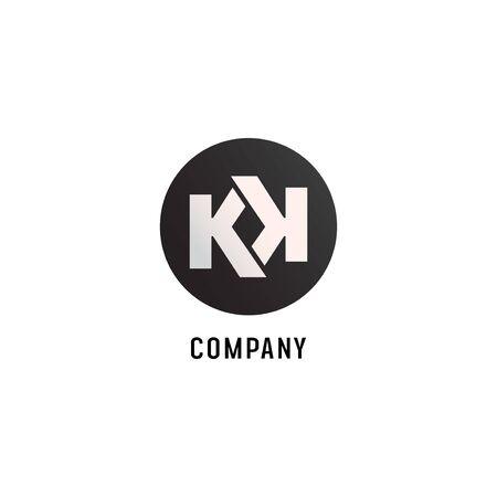 Letter KK Alphabetic Logo Design Template, Abjad, Flat Simple Clean, Black & White, Lettermark, Rounded Ellipse, Strong & Bold, Clothing, Fashion Logó