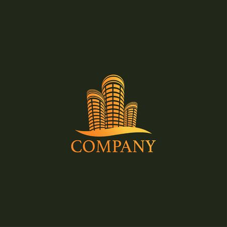 Gold Building Real Estate Logo Design Template, Upmarket Logo Concept, Profesional Logo Vector