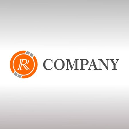 Letter R Alphabetic Logo Design Template, Crypto Curency Logo Concept, Gray, Orange, Ellipse, Rounded, Digital Coin, Virtual Money, Ecurrency Illusztráció
