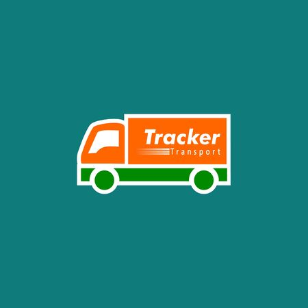 Tracker Logo Concept, Transportation Logo Design Template, Orange, Green, Truck Icon, Simple and Clean Logo, Carrier Wagon