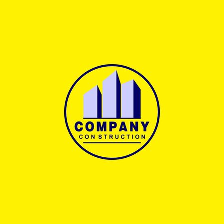 Real Estate Logo Design Template, Buildings Logo Concept, Rounded, Blue, Gray, Yellow Background  イラスト・ベクター素材