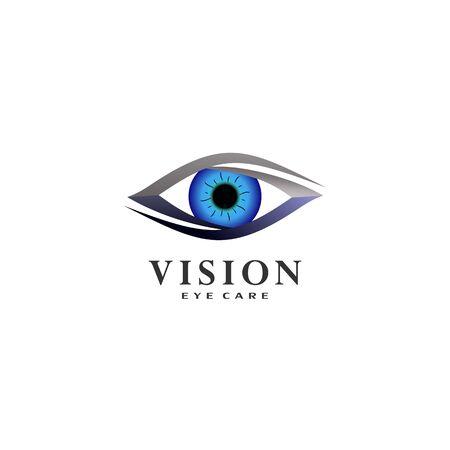 Vision Eye Care Logo Design Template, Blue Eye Logo Concept, Eye Icon