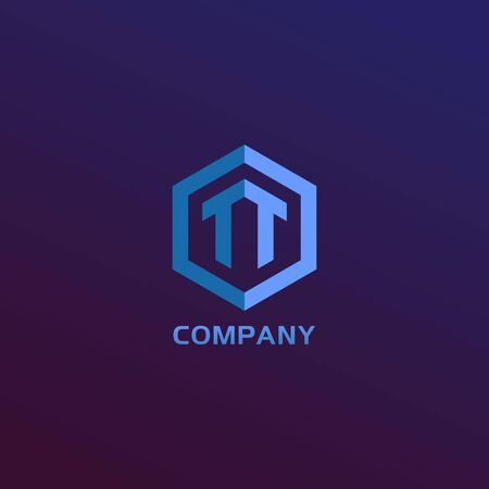 Letter TT Alphabetic Logo Design Template, Light Blue Hexagon Logo Concept, Blue Purple Gradation Background