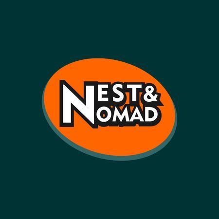 Nest & Nomad Logo Design Template, Orange Ellipse Design Template, Black, White