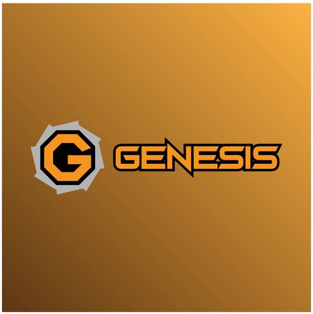 Letter G Alphabetic Logo Design Template, Genesis Logo Concept, Gear Icon, Black, Gray, Orange, Strong and Sharp