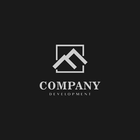 Letter F Alphabetic Logo Design Template, Real Estate Logo Concept, Gray, Roof Top Icon, Rectangle, Square