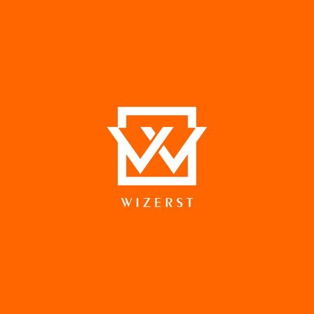 Letter W or VV or VW Logo Design Template, White Box in Orange Background, Rectangle Square Logo Concept, Simple and Clean, Strong & Bold