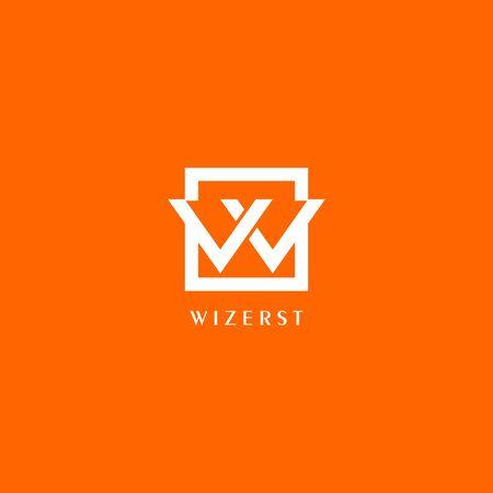 Modèle de conception de logo lettre W ou VV ou VW, boîte blanche sur fond orange, concept de logo carré rectangle, simple et propre, fort et audacieux