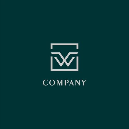 Letter W or VV or VW Logo Design Template, Gray Box, Dark Green Background, Rectangle Square Logo Concept, Simple and Clean, Strong & Bold Banque d'images - 127201562