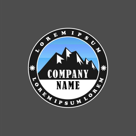 Himalayan Logo Design Template, Mountain, Salt, Emblem Logo Concept, Climbing, Ellipse, Rounded, Black And White, Blue Sky