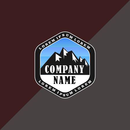Himalayan Logo Design Template, Mountain, Salt, Emblem Logo Concept, Climbing, Hexagonal, Black And White, Blue Sky