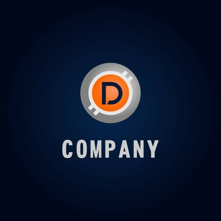 Letter D Alphabetic Logo Design Template, Crypto Curency Logo Concept, White, Gray, Orange, Ellipse, Rounded, Digital Coin, Virtual Money, Ecurrency