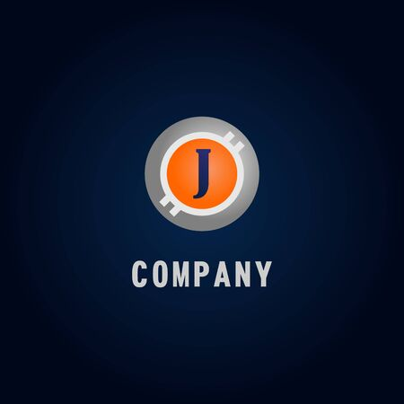Letter J Alphabetic Logo Design Template, Crypto Curency Logo Concept, White, Gray, Orange, Ellipse, Rounded, Digital Coin, Virtual Money, Ecurrency