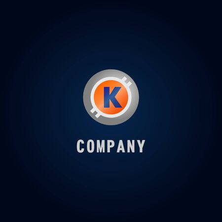Letter K Alphabetic Logo Design Template, Crypto Curency Logo Concept, White, Gray, Orange, Ellipse, Rounded, Digital Coin, Virtual Money, Ecurrency