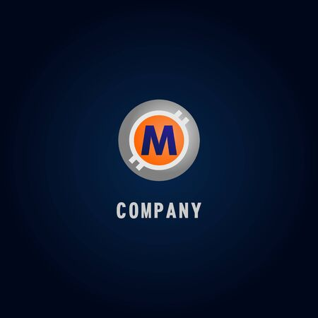 Letter M Alphabetic Logo Design Template, Crypto Curency Logo Concept, White, Gray, Orange, Ellipse, Rounded, Digital Coin, Virtual Money, Ecurrency