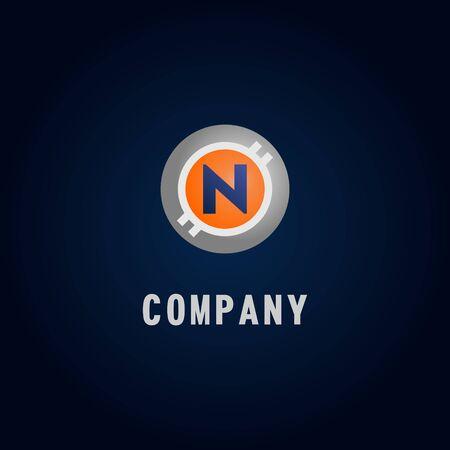 Letter N Alphabetic Logo Design Template, Crypto Curency Logo Concept, White, Gray, Orange, Ellipse, Rounded, Digital Coin, Virtual Money, Ecurrency Illustration