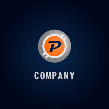 Letter P Alphabetic Logo Design Template, Crypto Curency Logo Concept, White, Gray, Orange, Ellipse, Rounded, Digital Coin, Virtual Money, Ecurrency
