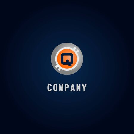 Letter Q Alphabetic Logo Design Template, Crypto Curency Logo Concept, White, Gray, Orange, Ellipse, Rounded, Digital Coin, Virtual Money, Ecurrency