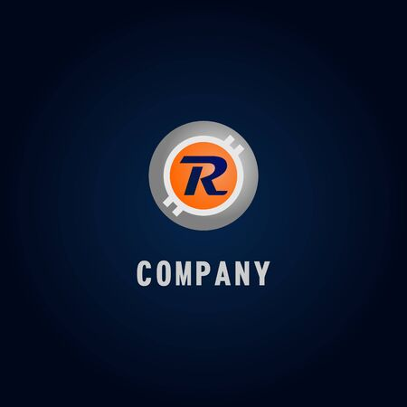 Letter R Alphabetic Logo Design Template, Crypto Curency Logo Concept, White, Gray, Orange, Ellipse, Rounded, Digital Coin, Virtual Money, Ecurrency Illustration