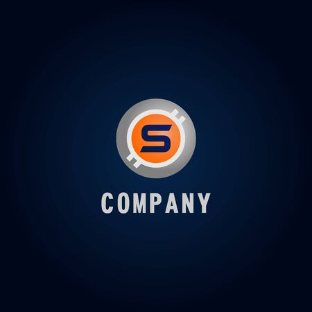 Letter S Alphabetic Logo Design Template, Crypto Curency Logo Concept, White, Gray, Orange, Ellipse, Rounded, Digital Coin, Virtual Money, Ecurrency Illustration