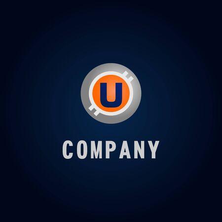 Letter U Alphabetic Logo Design Template, Crypto Curency Logo Concept, White, Gray, Orange, Ellipse, Rounded, Digital Coin, Virtual Money, Ecurrency Illustration