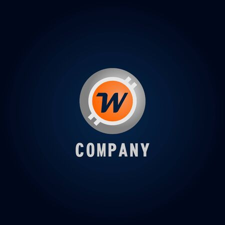 Letter W Alphabetic Logo Design Template, Crypto Curency Logo Concept, White, Gray, Orange, Ellipse, Rounded, Digital Coin, Virtual Money, Ecurrency