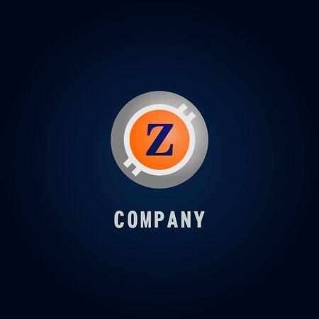 Letter Z Alphabetic Logo Design Template, Crypto Curency Logo Concept, White, Gray, Orange, Ellipse, Rounded, Digital Coin, Virtual Money, Ecurrency Illustration