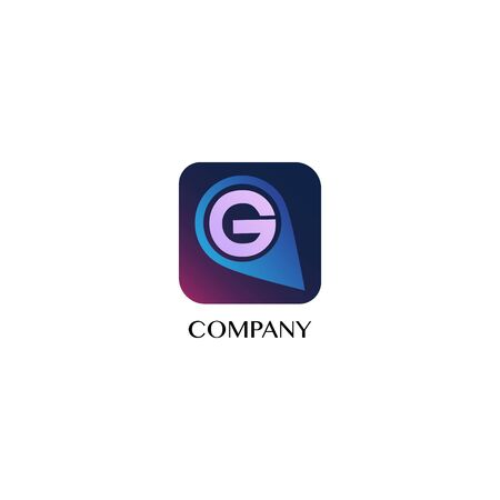 Letter G Alphabetic Logo Design Template, Tracker Company Logo Concept, Map Pin Icon, Rounded Square Shape, Initial Abjad, GPS, Geo Navigation, Transportation