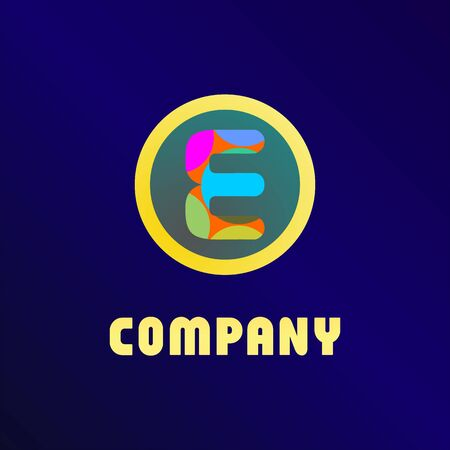 Letter E Alphabetic Logo Design Template, Yellow Ellipse, Rounded Logo Concept, Blue Background, Colorful, Strong And Bold, Lettermark